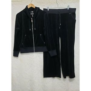 Michael Kors Womans XL Black Velour Jacket & Pants